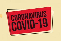 red rectangle on cream background with black text  CORONAVIRUS COVID-19